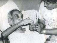 Mrs.Rani Krishnan at her service with a senior citizen