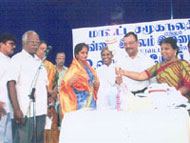 Mrs.Rani Krishnan at the International Old Age Day Celebration with the Chennai Collector Thiru Kannuswamy IAS and The Chief of District Social Welfare Board Tmt Hellen.