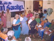 The senior citizens actively participate on the International Old Age Day.